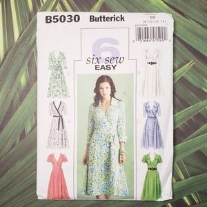 B5030 Butterick Wrap Dress Aline Skirt Pattern